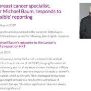 Réponse Prof Baum étude Ménopause Lancet