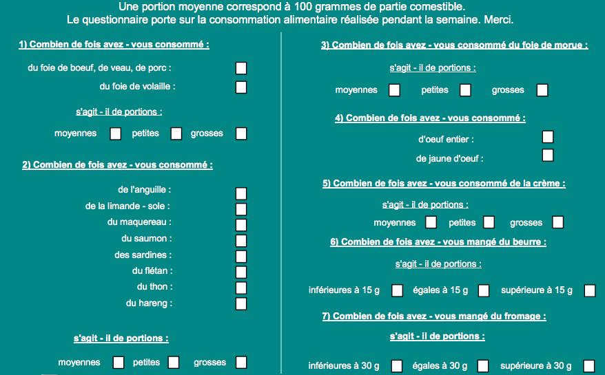 Questionnaire Vitamine D